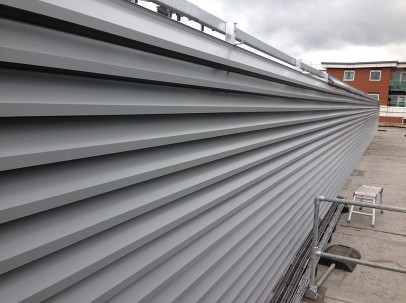Silver louvres on a rooftop
